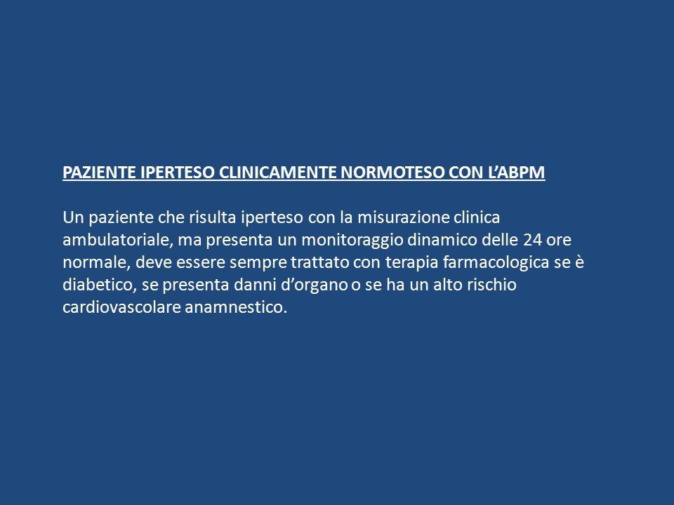 PAZIENTE IPERTESO CLINICAMENTE NORMOTESO CON L'ABPM