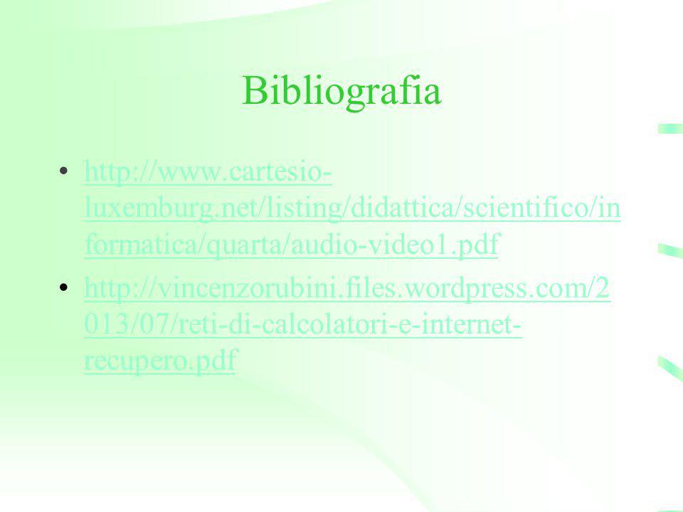 Bibliografia http://www.cartesio-luxemburg.net/listing/didattica/scientifico/informatica/quarta/audio-video1.pdf.