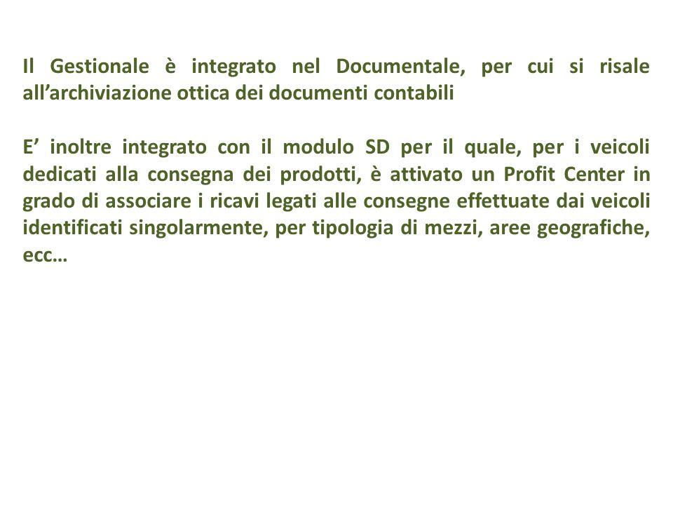 Il Gestionale è integrato nel Documentale, per cui si risale all'archiviazione ottica dei documenti contabili