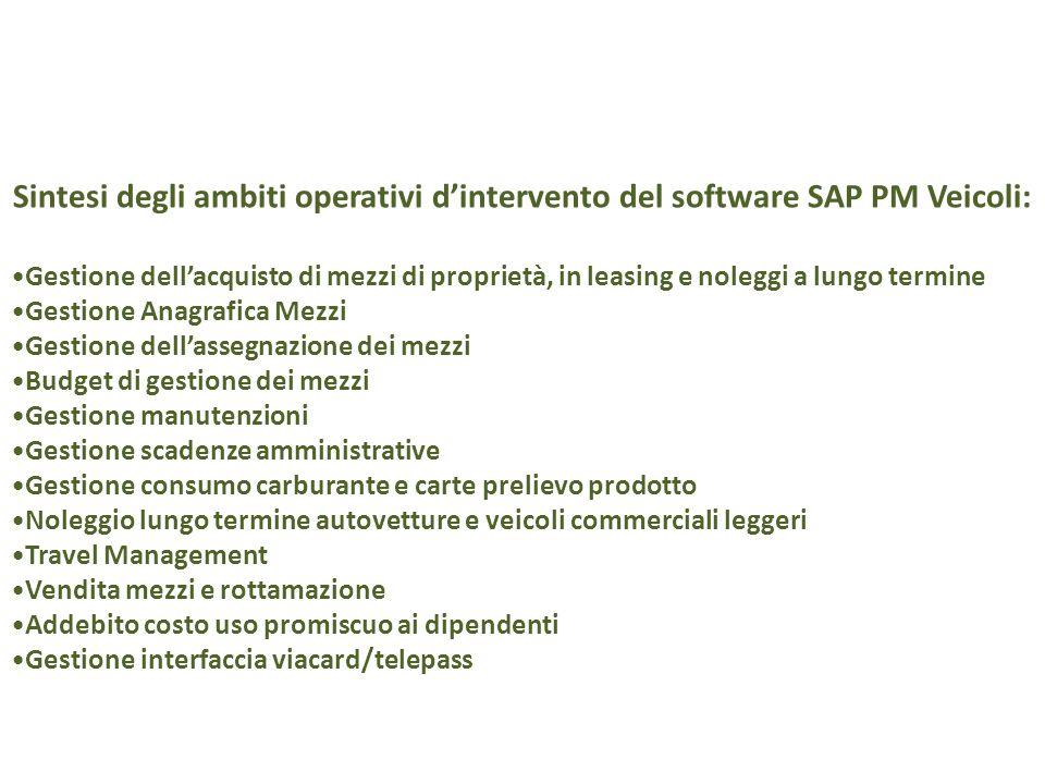 Sintesi degli ambiti operativi d'intervento del software SAP PM Veicoli: