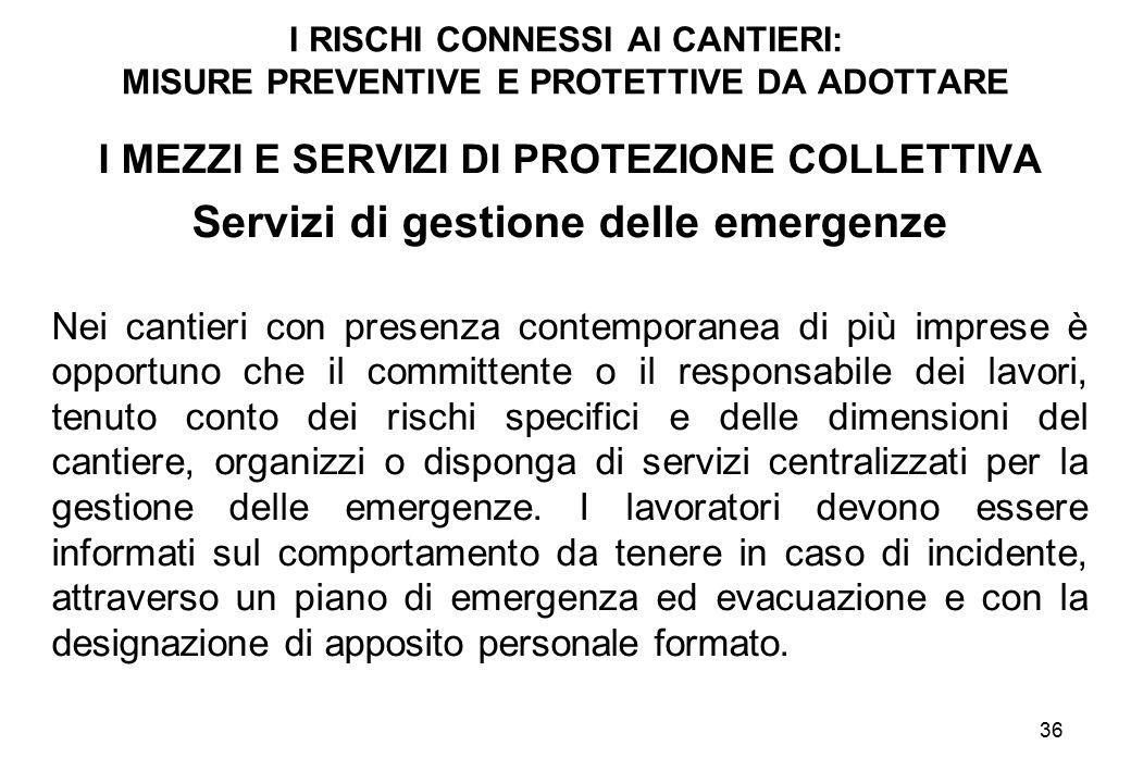 Servizi di gestione delle emergenze