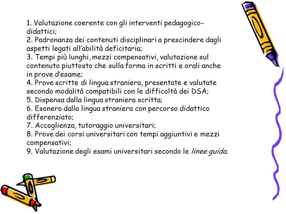 1. Valutazione coerente con gli interventi pedagogico-didattici;