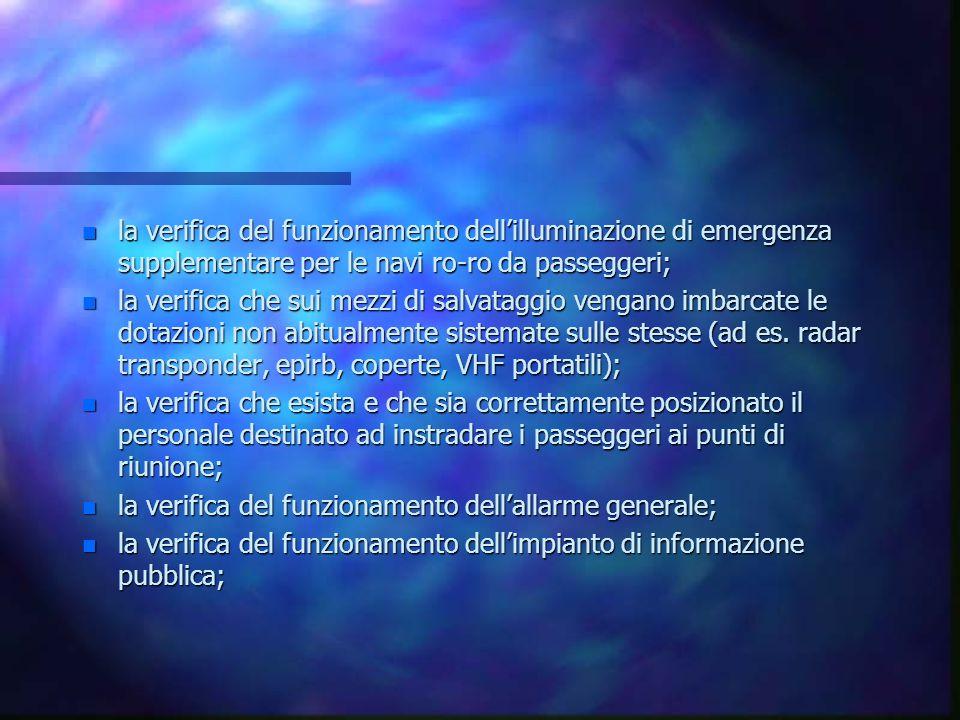 la verifica del funzionamento dell'illuminazione di emergenza supplementare per le navi ro-ro da passeggeri;