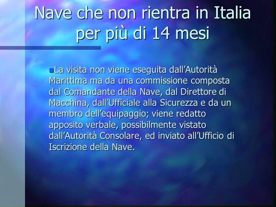 Nave che non rientra in Italia per più di 14 mesi