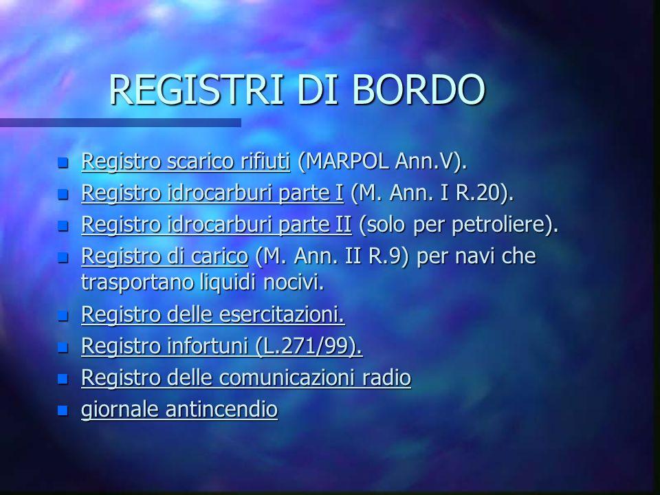 REGISTRI DI BORDO Registro scarico rifiuti (MARPOL Ann.V).