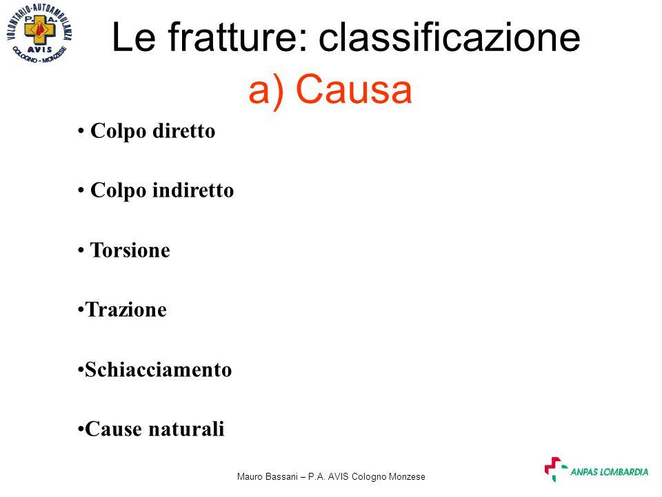 Le fratture: classificazione a) Causa