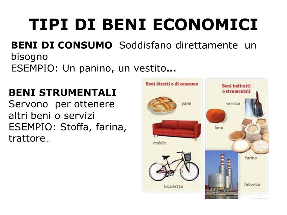 TIPI DI BENI ECONOMICI BENI DI CONSUMO Soddisfano direttamente un bisogno. ESEMPIO: Un panino, un vestito…