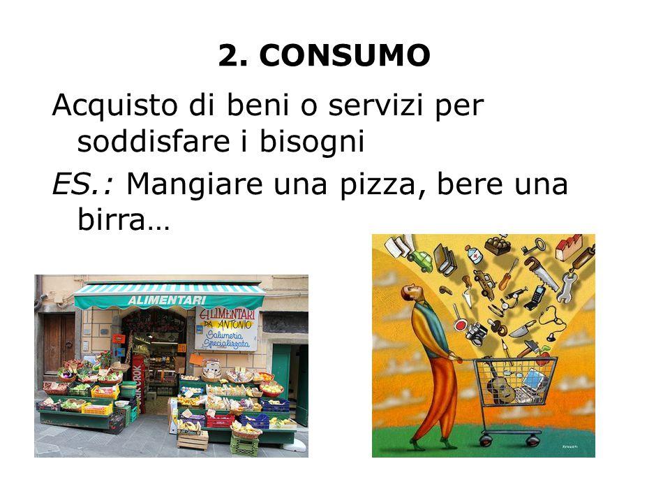 2. CONSUMO Acquisto di beni o servizi per soddisfare i bisogni.