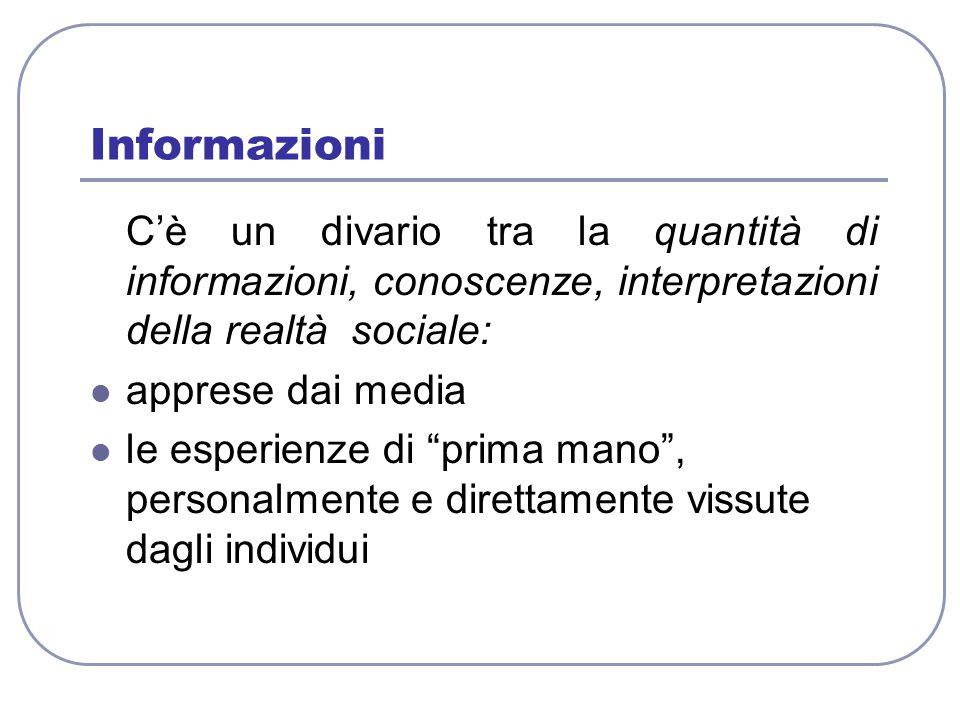 Informazioni C'è un divario tra la quantità di informazioni, conoscenze, interpretazioni della realtà sociale: