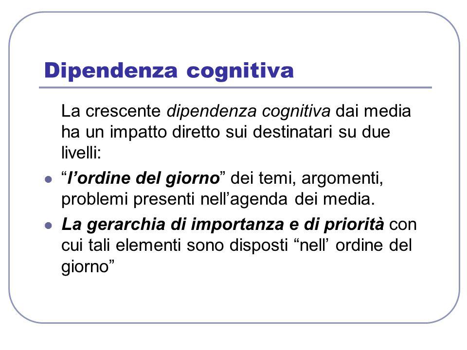 Dipendenza cognitiva La crescente dipendenza cognitiva dai media ha un impatto diretto sui destinatari su due livelli:
