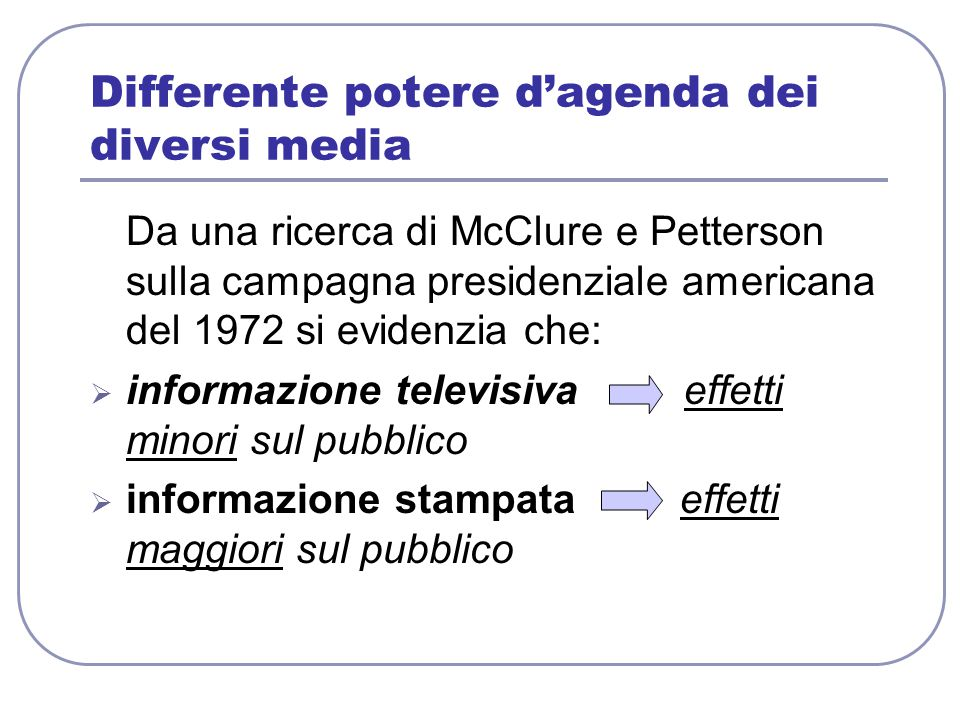 Differente potere d'agenda dei diversi media