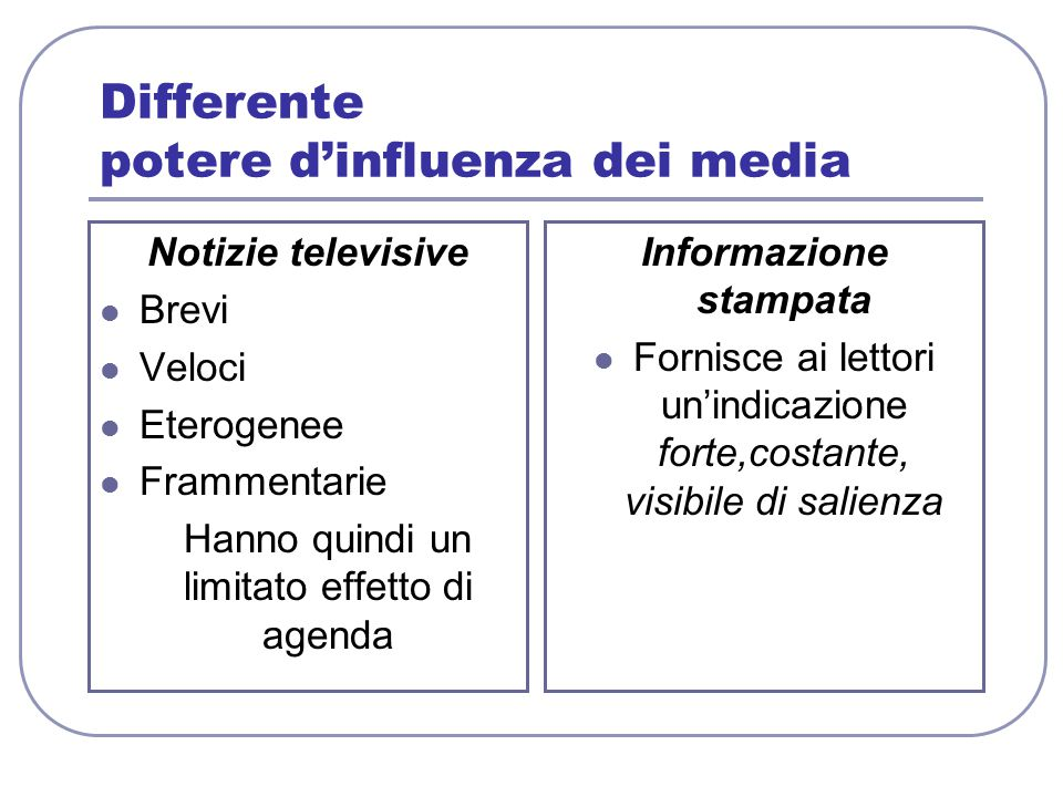 Differente potere d'influenza dei media
