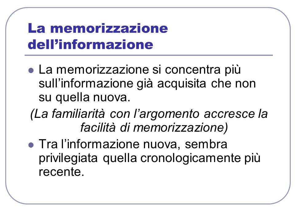 La memorizzazione dell'informazione
