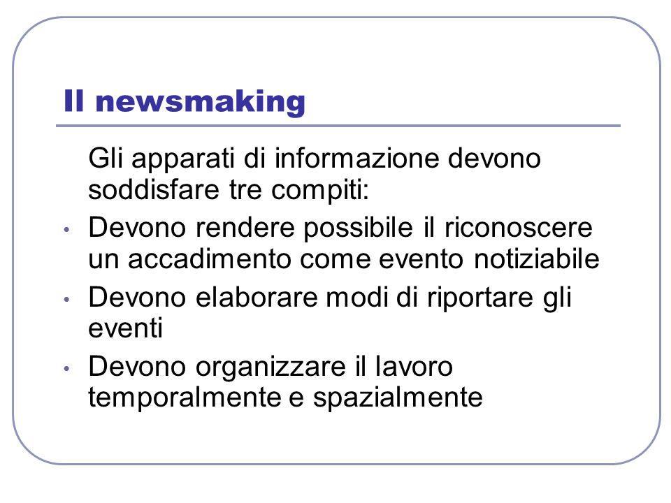 Il newsmaking Gli apparati di informazione devono soddisfare tre compiti: