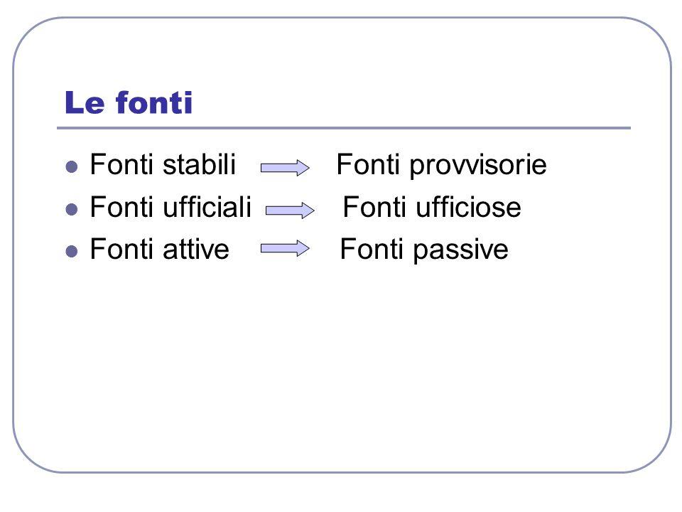 Le fonti Fonti stabili Fonti provvisorie