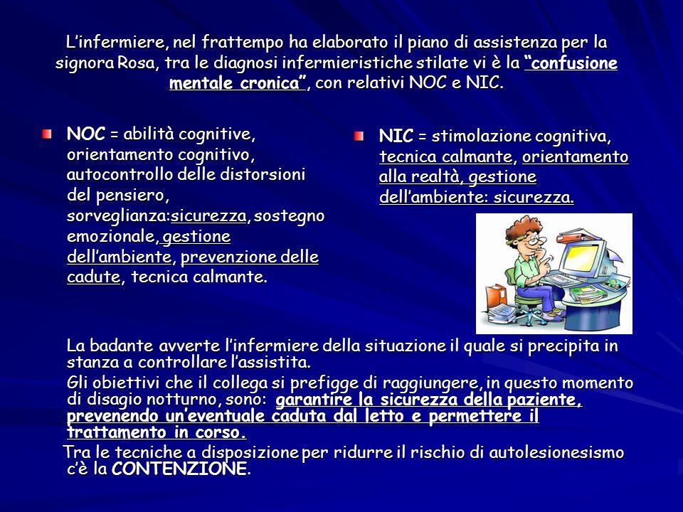 L'infermiere, nel frattempo ha elaborato il piano di assistenza per la signora Rosa, tra le diagnosi infermieristiche stilate vi è la confusione mentale cronica , con relativi NOC e NIC.