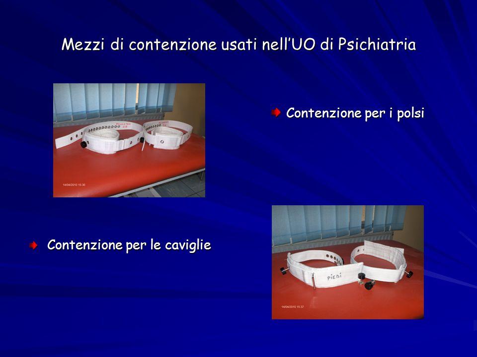 Mezzi di contenzione usati nell'UO di Psichiatria