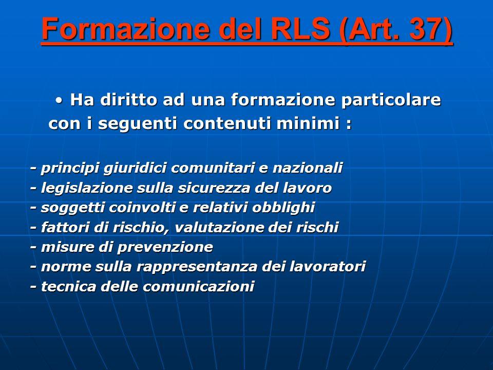 Formazione del RLS (Art. 37)