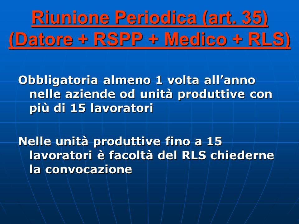 Riunione Periodica (art. 35) (Datore + RSPP + Medico + RLS)