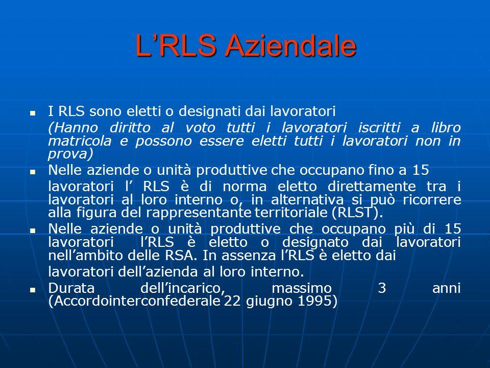L'RLS Aziendale I RLS sono eletti o designati dai lavoratori