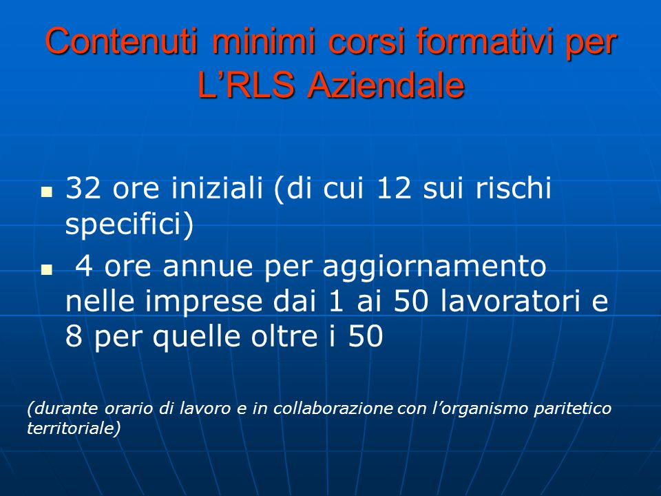 Contenuti minimi corsi formativi per L'RLS Aziendale