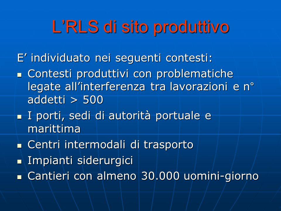 L'RLS di sito produttivo