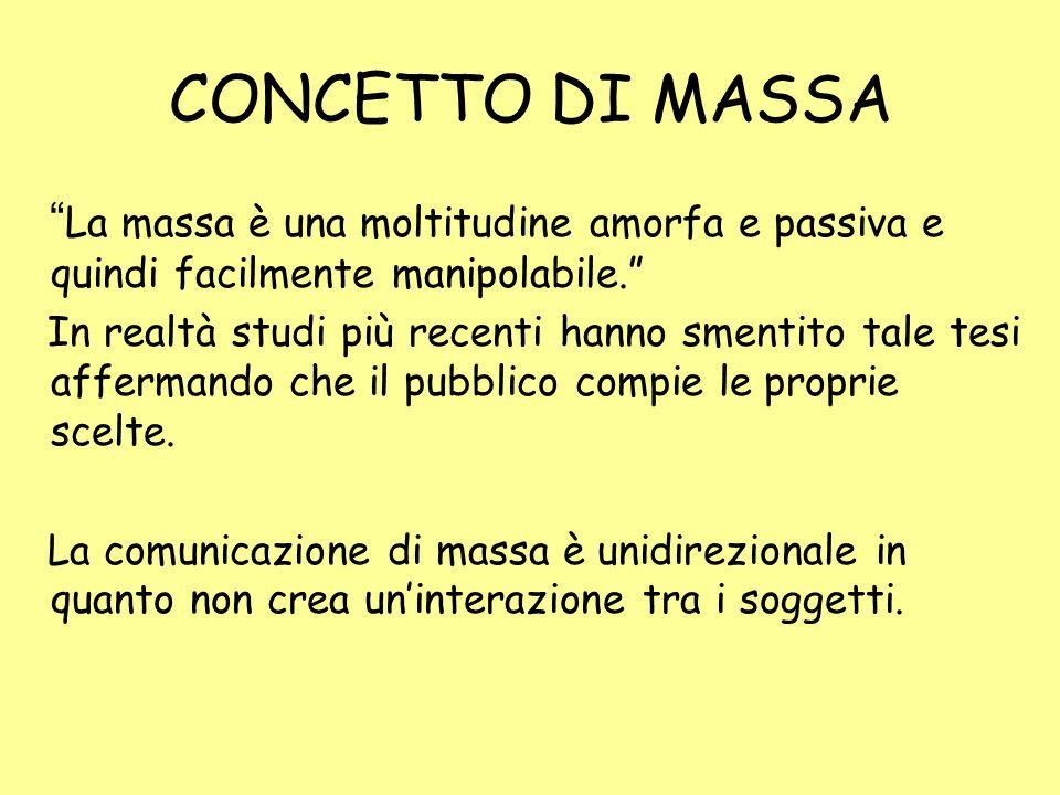 CONCETTO DI MASSA La massa è una moltitudine amorfa e passiva e quindi facilmente manipolabile.