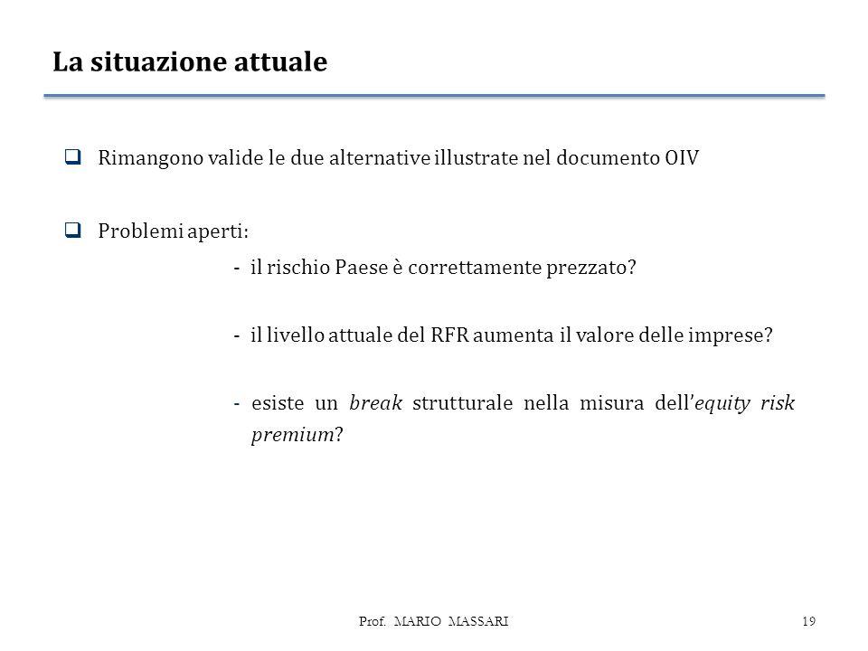 La situazione attuale Rimangono valide le due alternative illustrate nel documento OIV. Problemi aperti: