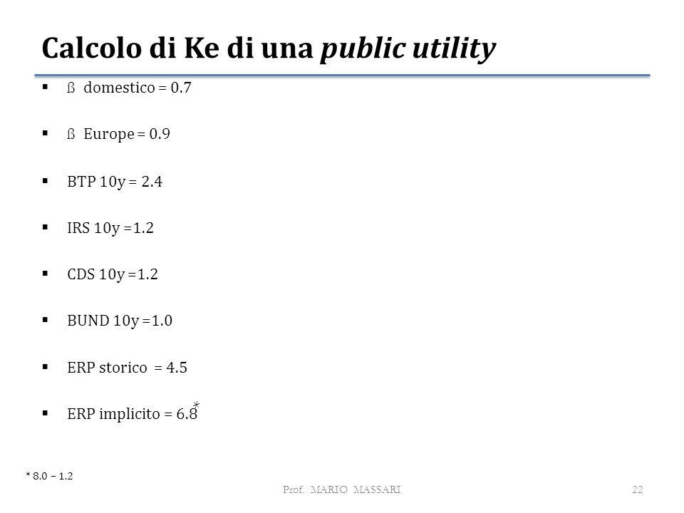 Calcolo di Ke di una public utility