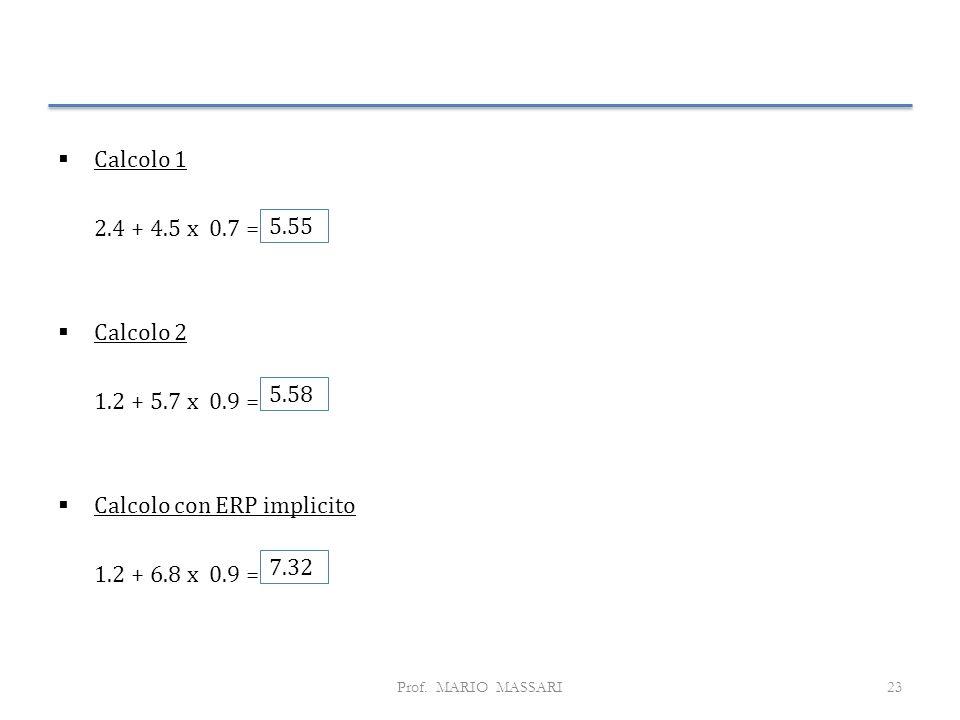 Calcolo con ERP implicito 1.2 + 6.8 x 0.9 = 5.55