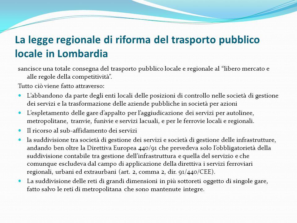 La legge regionale di riforma del trasporto pubblico locale in Lombardia