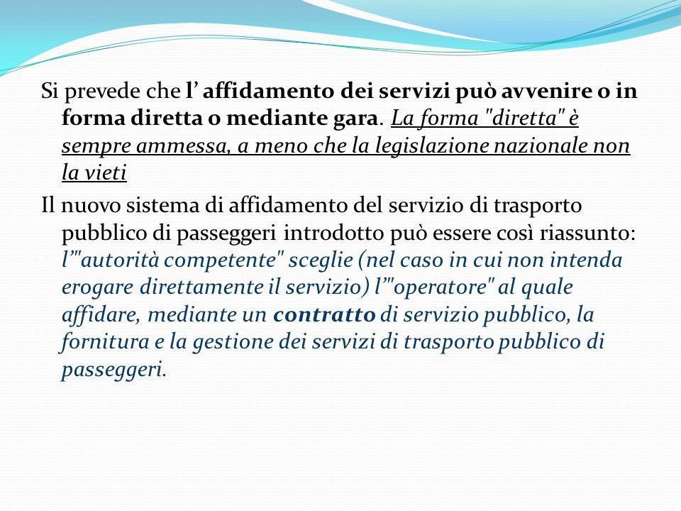 Si prevede che l' affidamento dei servizi può avvenire o in forma diretta o mediante gara.