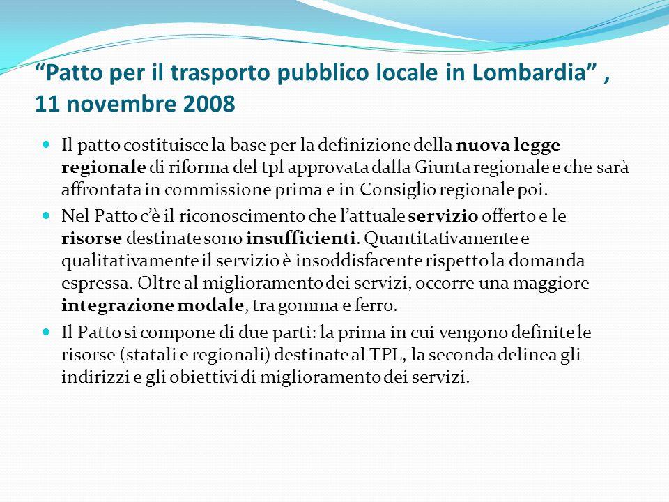 Patto per il trasporto pubblico locale in Lombardia , 11 novembre 2008