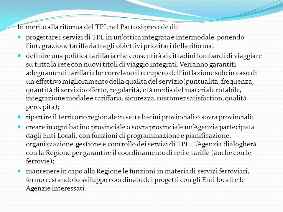 In merito alla riforma del TPL nel Patto si prevede di: