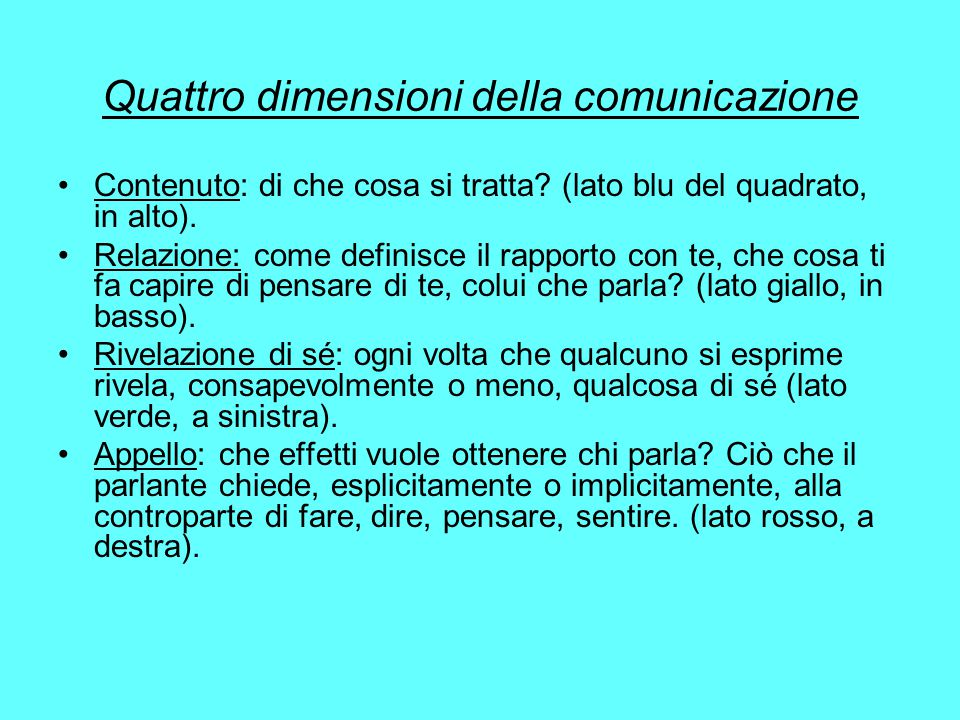 Quattro dimensioni della comunicazione