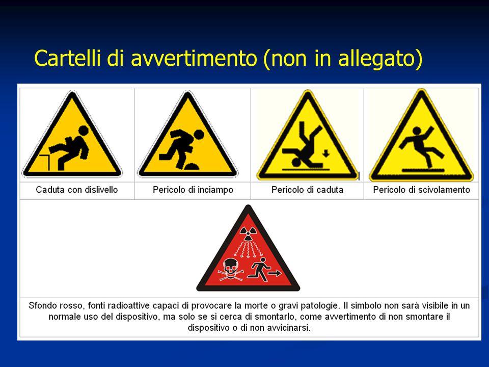 Cartelli di avvertimento (non in allegato)