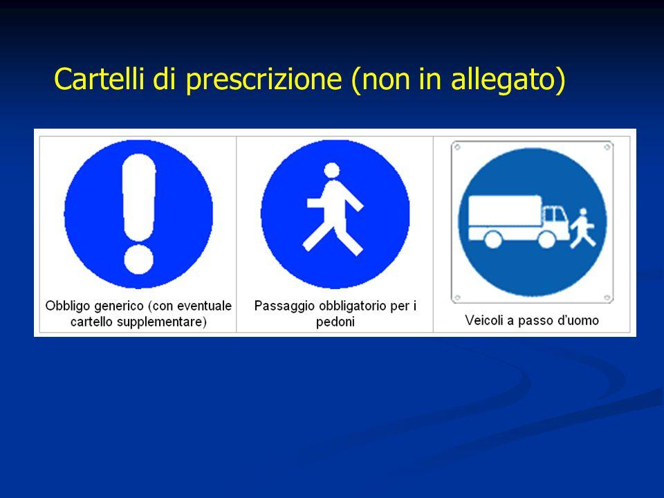 Cartelli di prescrizione (non in allegato)