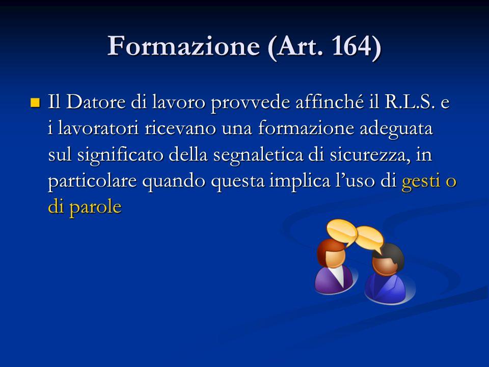 Formazione (Art. 164)