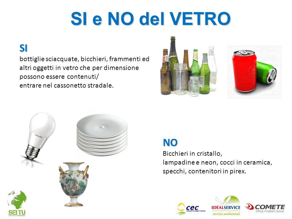 SI e NO del VETRO SI. bottiglie sciacquate, bicchieri, frammenti ed altri oggetti in vetro che per dimensione possono essere contenuti/