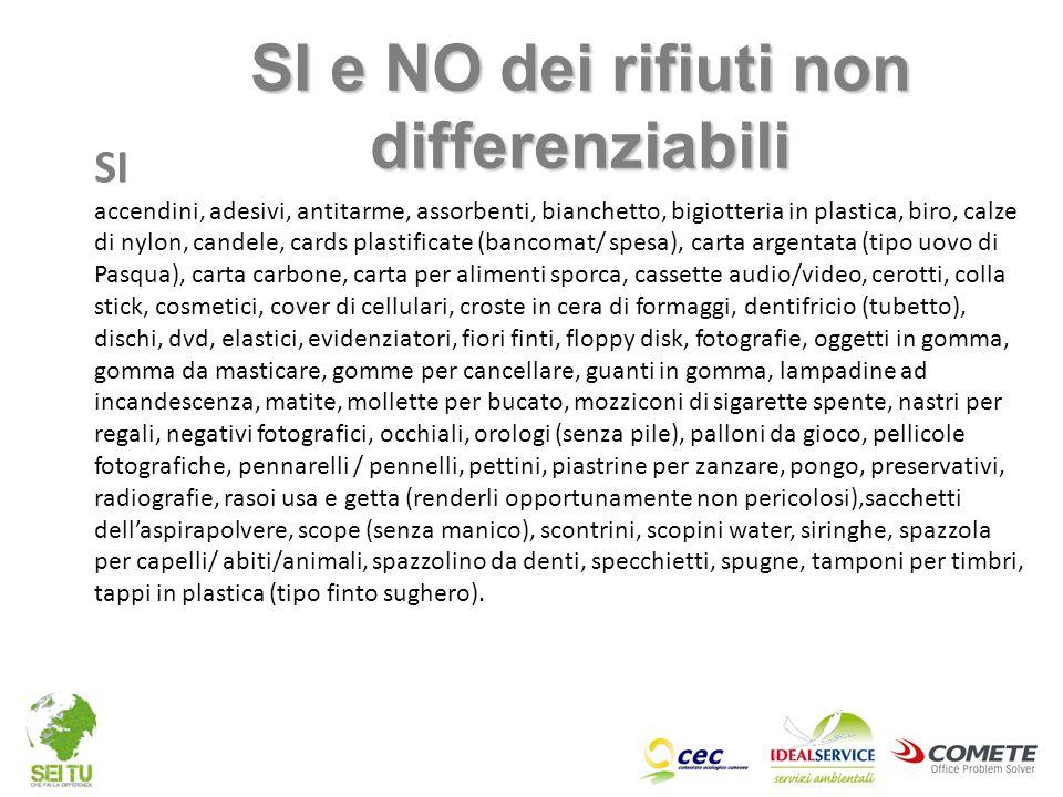 SI e NO dei rifiuti non differenziabili
