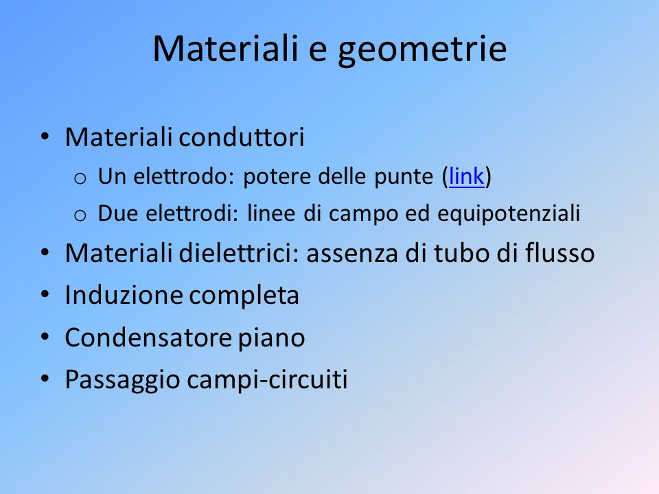 Materiali e geometrie Materiali conduttori