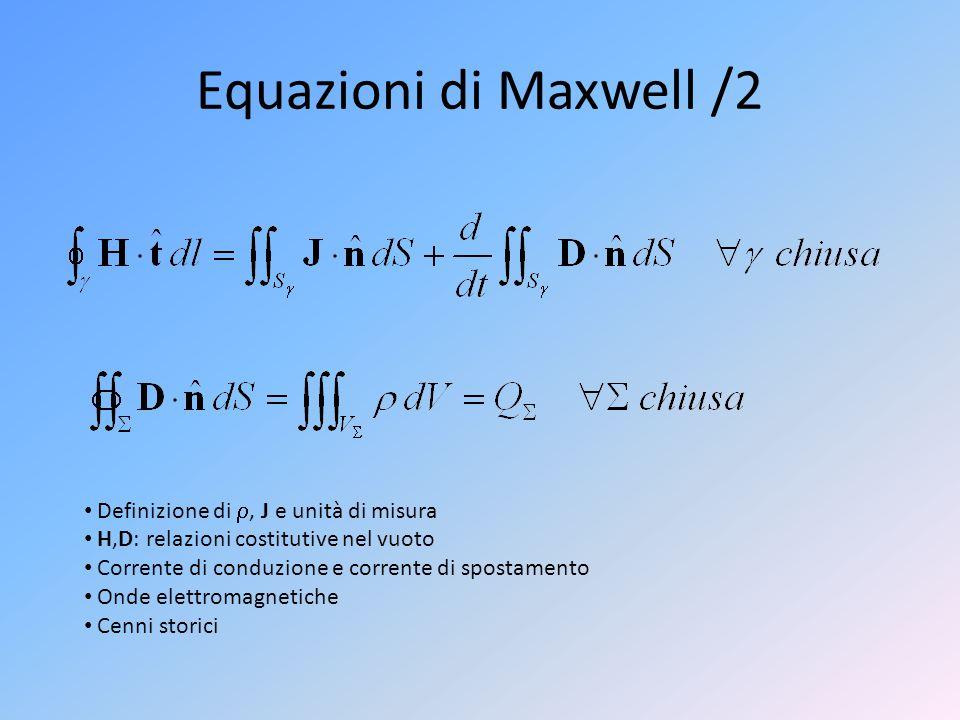 Equazioni di Maxwell /2 Definizione di , J e unità di misura