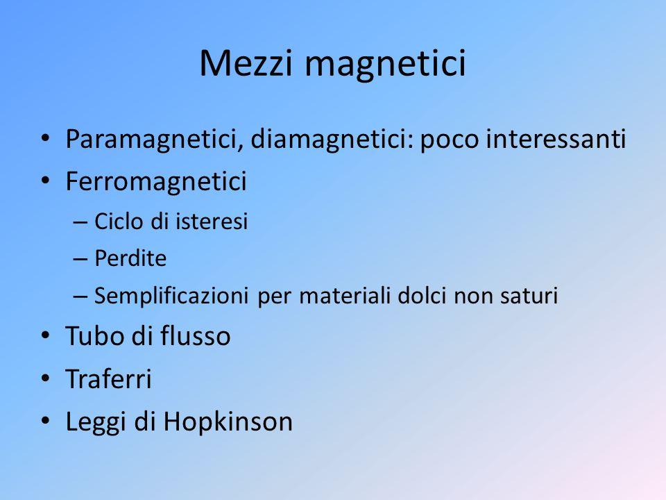 Mezzi magnetici Paramagnetici, diamagnetici: poco interessanti