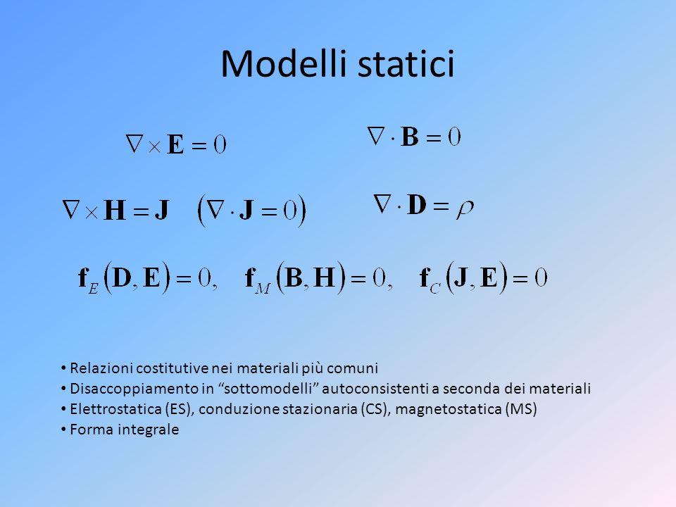 Modelli statici Relazioni costitutive nei materiali più comuni