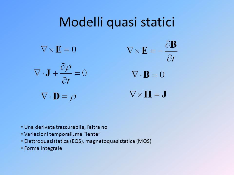 Modelli quasi statici Una derivata trascurabile, l'altra no