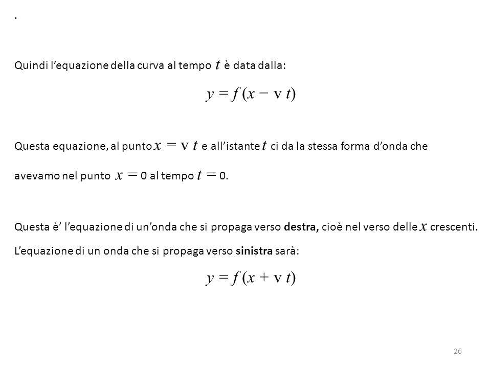 . Quindi l'equazione della curva al tempo t è data dalla: y = f (x − v t)