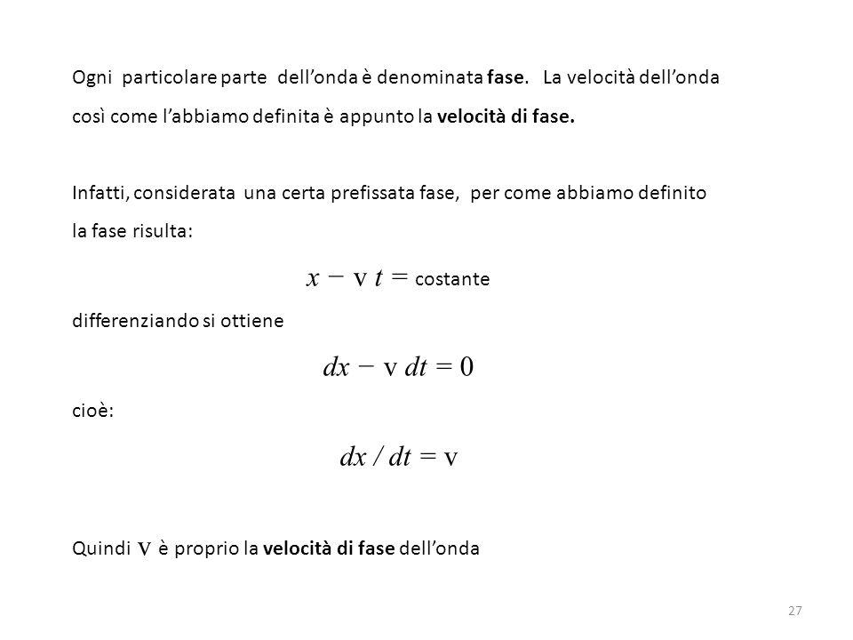 x − v t = costante dx − v dt = 0 dx / dt = v