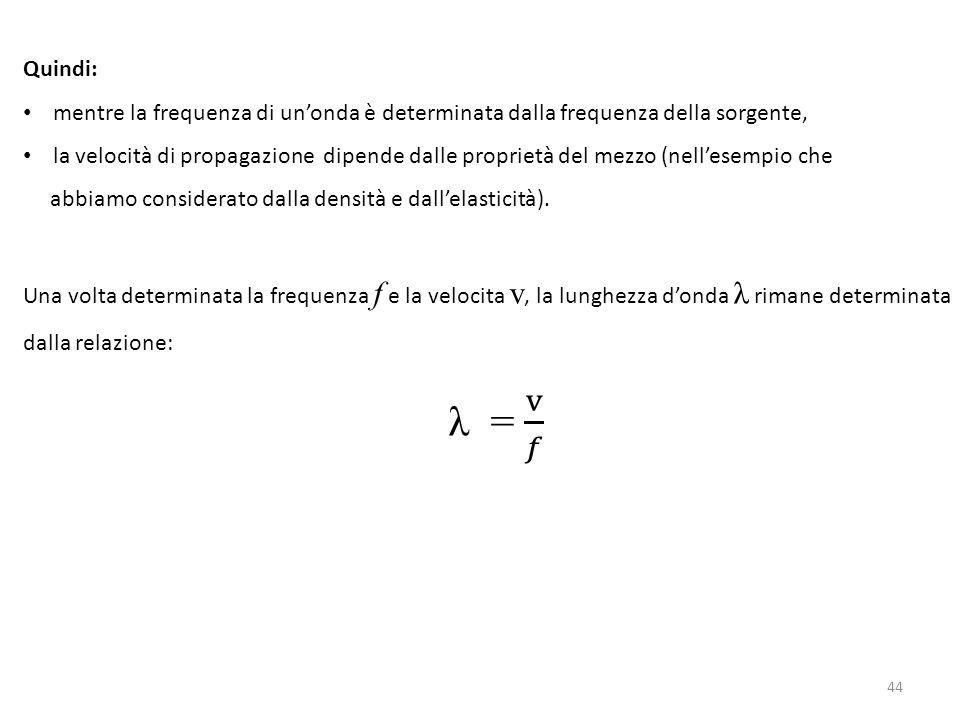 Quindi: mentre la frequenza di un'onda è determinata dalla frequenza della sorgente,
