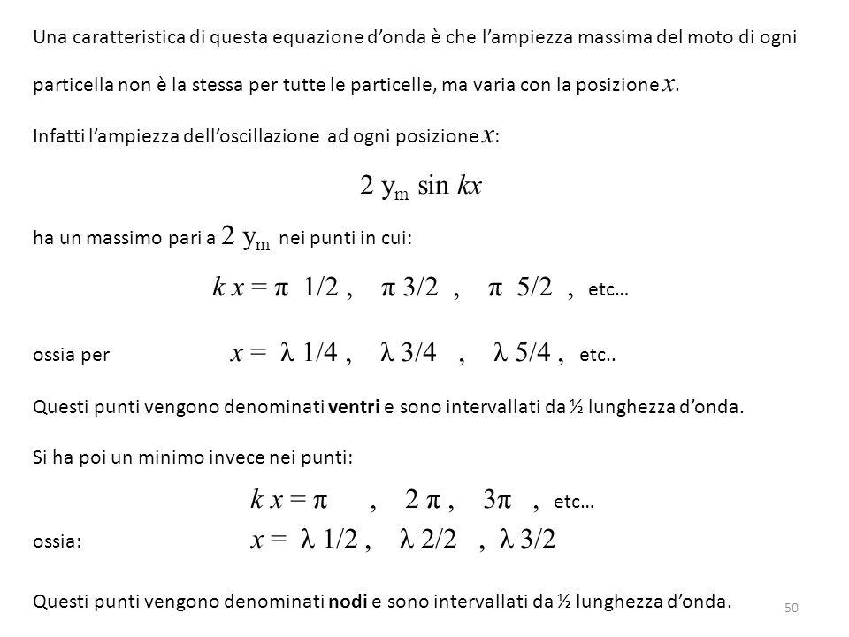 2 ym sin kx k x = π 1/2 , π 3/2 , π 5/2 , etc…