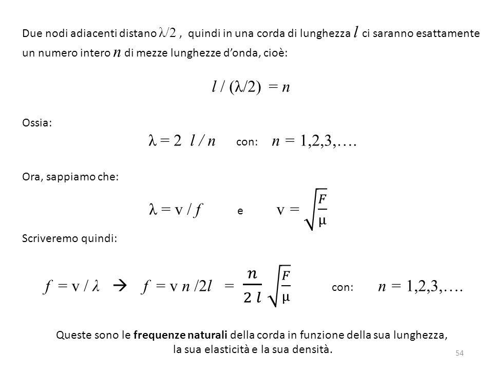 l / (λ/2) = n λ = 2 l / n con: n = 1,2,3,….